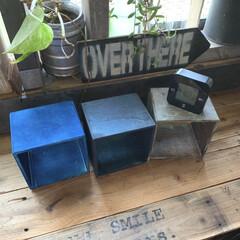 IKEA/時計/ペイント/キューブボックス/雑貨/DIY/... セリアで購入したキューブボックスを ペイ…