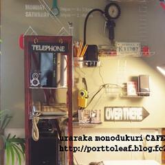 ダイニング/壁面ディスプレイ/カフェ風/インダストリアル/錆び塗装/ペイント/... ダイニングのパソコンコーナー前にベニヤ+…
