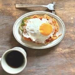マグカップ キントー KINTO スローコーヒースタイル マグ 400ml グレー Slow Coffee Style | キントー(マグカップ)を使ったクチコミ「お昼にナポリタン作りました。 目玉焼きで…」