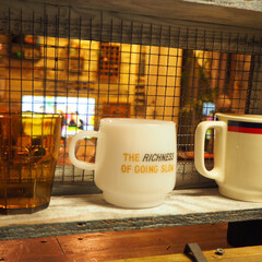 カフェ風/焼き網/グラスケース/食器棚/インダストリアル風/ブログも書いてます/... グラスケース、完成です♪ 中にグラスやマ…(2枚目)