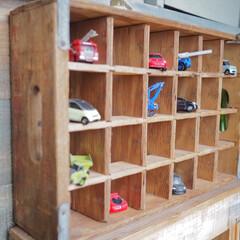 古道具/ミニカー収納/木箱/ドリンクケース/おもちゃ収納/DIY/... 以前、フリーマーケットで購入したレトロな…