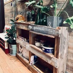 アイデア投稿もしています/インスタグラムやってます/ブログ書いてます/うららかものづくりCafe/廊下/シェルフ/... リビングで使っていたパレットで作った棚を…