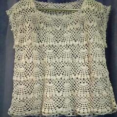 コットン/かぎ針編み/編み物/ハンドメイド 編み物の本を参考にしました。 編み始めて…
