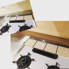 木目調/団地DIY/リアテックシート/ダイノックシート/キッチンDIY キッチンのギラギラステンレス。 1段高く…