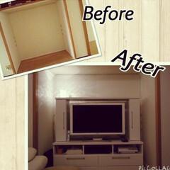 押入れにテレビ/押入れ/団地DIY/DIY/インテリア/住まい リビングの押入れの中に壁紙を貼ってテレビ…