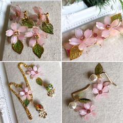 小さい春/レジン/プラバンアクセサリー/プラバン/ハンドメイド プラバンの桜が咲きました🌸