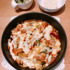 ミョウガ/チーズダッカルビ/フード/セリア/おうちごはん 今日の夕飯♪ チーズダッカルビを作ってみ…