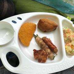 運動会弁当/100均/セリア セリアで購入したバーベキュー皿に盛ってみ…