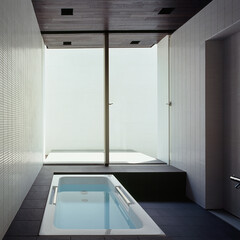 モダン/シンプル/ナチュラル/スタイリッシュ/デザイン/デザイナー/... プライバシーを確保しつつ開放的な浴室とし…