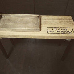 フレッツ/ブライワックスジャコビアン/ステンシル/サイドボード/机/カインズ/... ベッドサイドに置く机を作りました。 小物…(2枚目)