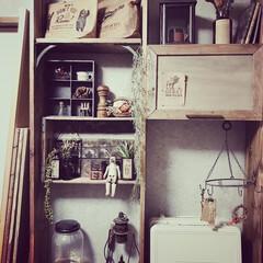 ディスプレイ/アンティーク/シャビー/古材風木材/ディアウォール/ラブリコ/... 子供部屋の改造計画のひとつ、突っ張り棚か…