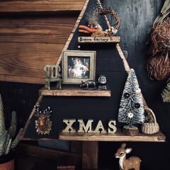 男前/アンティーク/クリスマス/ディスプレイ棚DIY/クリスマスツリー/セリア/... 先日、DIY友達4人でツリー型の棚を作り…