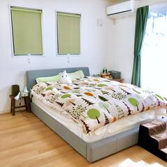 ベッドルーム/ニトリ/ベッド/寝室 寝室♪ベッドはニトリのもの。 ウッドスプ…