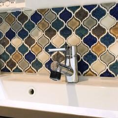 洗面所/DIY/ランタンタイル ランタンタイルで普通の洗面所をデコ!