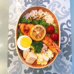 曲げわっぱ/鮭のレモン焼き/鮭/秋色お弁当/秋色/お弁当 秋鮭をレモン焼きにしましたヽ(^o^) …