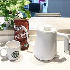 バルミューダ/コーヒー/スターバックス/スタバ/キッチン/お茶/... おはようございます☺︎ ホットコーヒーが…