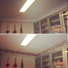 ブリックタイル/ブリック/DIY/キッチン キッチンの梁にブリックタイルを貼りました…