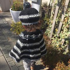 子育て/育児/編み物/手編み/手芸/ハンドメイド 子供用ポンチョ&帽子を編みました。 子供…(2枚目)
