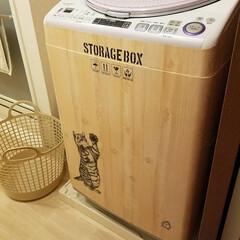 洗濯機/インテリア/DIY/100均/セリア セリアのリメイクシートを使用した洗濯機D…