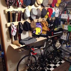 1✕4/帽子収納/DIY/住まい/収納/ファッション 自転車と帽子の収納を 1✕4ざいにて作成