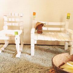 エコクラフト/コルク/ガラスタイル/木製クリップ/DIY/雑貨/... こちらは、木製クリップの揺れる椅子(左)…