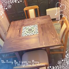 DIY/インテリア/家具/節約/ハンドメイド/建築 家族4人が対面できるダイニングテーブルが…