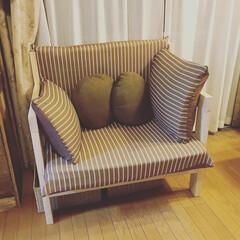 ソファー/夏インテリア/インテリア/DIY/雑貨/家具/... 2×4材を使って二人がけソファーをつくり…