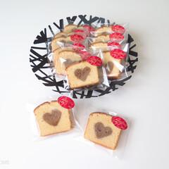 過去画/お菓子作り/お菓子/チョコレート/パウンドケーキ/バレンタイン2019/...  切っても切っても ハート \♥/ が出…