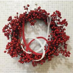お正月飾り/水引き/手作りリース/南天/お正月2020/暮らし クリスマスからお正月飾りへ  水引きを付…