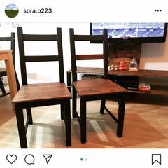 男前/男前インテリア/椅子 /椅子の張り替え/ユザワヤ/DIY/... IKEAの椅子にクッションをつけました.…