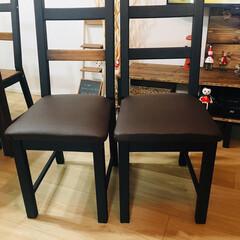 男前/男前インテリア/椅子/椅子の張り替え/ユザワヤ/DIY/... IKEAの椅子にクッションをつけました.…(2枚目)