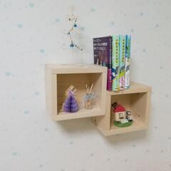 シェルフ/ボックス/DIY/収納 1×6材でボックスシェルフを作りました。…