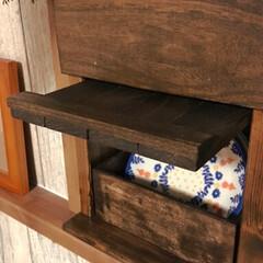 キッチン/カフェ風カーテン/突っ張り収納/ジャッキ/ディアウォール/walist/... やっとキッチン表面の棚が完成❤️✨ グリ…(3枚目)