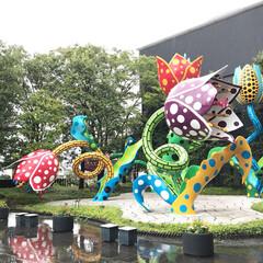 おでかけ/アート/美術館/草間彌生/松本市 松本市美術館前の鮮やかなオブジェに惹かれ…