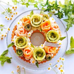誕生日ケーキ/手作りケーキ/チーズケーキタルト/チーズケーキ/リースタルト 2020/7/11    桃のコンポート…