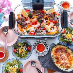 ヘルシークッカー 蒸し器 Cuisinart STM-1000J★ | クイジナート(ホットプレート)を使ったクチコミ「週末ランチ♪   ❁魚介のパエリア ❁ポ…」