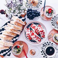 北欧食器/北欧/おうちカフェ/朝ごはん/LIMIAごはんクラブ/わたしのごはん/... 大好きないちごサンドで🍓 朝ごパン♪ 家…