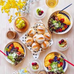 朝ごはん/手作りパン/手ごねパン/おうちカフェ/北欧食器/北欧/... 2019/6/15  週末朝ごパン♪  …