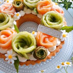 誕生日ケーキ/手作りケーキ/チーズケーキタルト/チーズケーキ/リースタルト 2020/7/11    桃のコンポート…(2枚目)