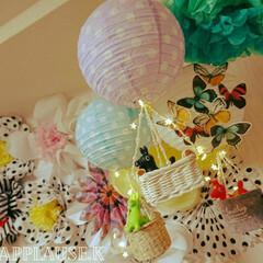 星形LEDライト/フェルト収納ケース/happy birthday/誕生日飾り付け/セリアのペーパーランタン/い草バスケット/... セリアのペーパーランタンオーナメントとバ…