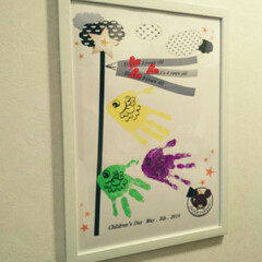 ダイソーA3フレーム/手形アート/こどもの日/鯉のぼり/DIY/ダイソー/... 我が家の手形アートで、鯉のぼり♥ 子供達…
