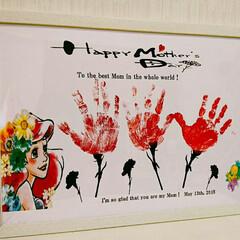 ダイソーA3フレーム/アートフレーム/アートポスター/カーネーション/手形アート/母の日/... Happy Mother's Day♥ …