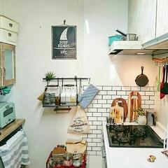 グラファイトトースター 2枚焼き CAT-GS13B(グリーン) | アラジン(トースター)を使ったクチコミ「キッチンをカフェっぽく改造中☺️」