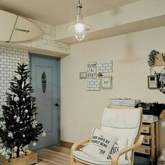 ニトリのクリスマスツリー/IKEA/クリスマス/DIY/ニトリ/住まい ここだけホワイトインテリアぽく。 ツリー…