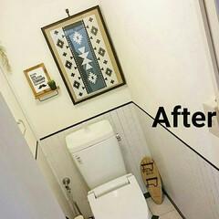 beforeafter/オルテガ/モノトーン/トイレインテリア/フェイクグリーン/額縁/... 100均商品のみで、トイレのイメチェンし…