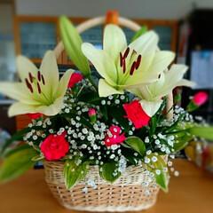 アレンジメント/ゆり/お花のある暮らし/雨季ウキフォト投稿キャンペーン/はじめてフォト投稿/暮らし/... 母の作品~(*´︶`*)❀
