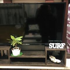 テレビボード ガレージの壁掛けTVに DVDプレーヤー…