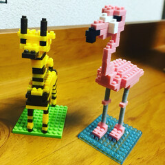 フラミンゴ/キリン/おもちゃ/100均/ダイソー ダイソーでパズル買ってフラミンゴとキリン…