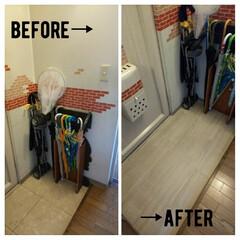 団地/フロアシート/玄関 ずっと好きじゃなかった玄関の床。余ったフ…