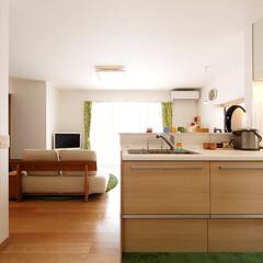 キッチン/システムキッチン/オープンキッチン 壁付きだったキッチンを対面式に変更。リビ…